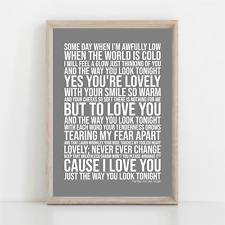 More details for frank sinatra the way you look tonight song lyrics poster print wall art