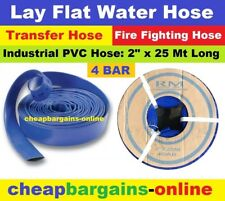 "LAY FLAT WATER FIRE HOSE REEL 2"" x 25Mt INDUSTRIAL PVC TRANSFER IRRIGATION HOSE"