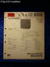Sony Service Manual HCD N300 / N300K Component System (#0847)