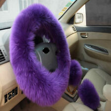 Long Furry Steering Wheel Cover Shifter Cover and Parking Brake Cover 1Set
