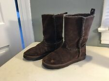 American Eagle Women's Flat Winter Boots Mid-Calf Brown Suede Size 8 Gently Used