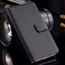 Premium Black Genuine Leather Wallet Flip Case Cover for iPhone SE 5S & 5