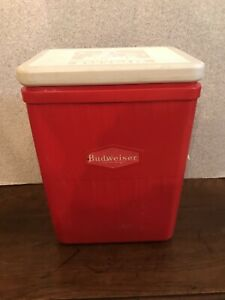 "VINTAGE BUDWEISER AMOCO COOLER 11x8x15"" Beer Promotional Collectible Red Plastic"