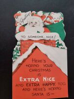 Vtg 1940s Christmas Greeting Card Diecut Santa Claus Chimney Roof doll foldout