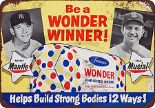 1954 Mickey Mantle Stan Musial wonder bread Reproduction Metal Sign tin 8 x 12