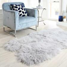 light grey Mongolian sheepskin floor rug shaggy fur curly 4 hide pelt quatro