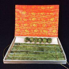 Jadeíta natural jade/Palillos Tallada Con Tortuga descansa X 6 Calidad en Caja Set