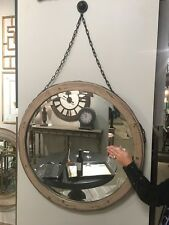 NEW RUSTIC WOOD ROUND BEVELED WALL VANITY MIRROR HANGING CHAIN DECORATIVE HOOK