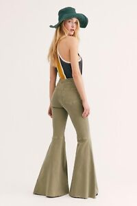 Free People Float On Jeans Extreme Flare Khaki Green Size 28 29