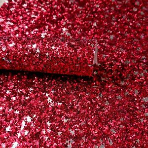 A4 Christmas Glitter Fabric Sheet, Red Silver Stars for hair bow making, crafts