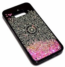 For Samsung Galaxy S8+ PLUS - FULL FLOWER PINK CONFETTI GLITTER LIQUID SKIN CASE