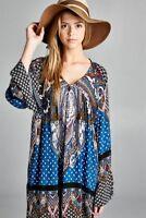 VELZERA GYPSY TUNIC/DRESS Baby Doll bohemian block print Long Bell sleeves NEW