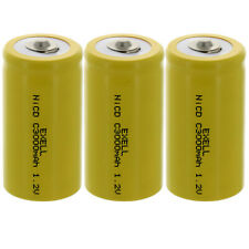 3x Exell C Size 1.2V 3000mAh NiCd Button Top Rechargeable Batteries Usa Ship