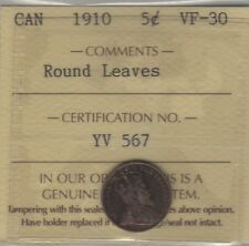 1910 RL Canada Silver Five Cents Coin. Rare Variety ICCS VF-30