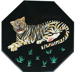 21 Inches Marble Coffee Table Top Elegant Tiger Design Sofa Table for Home Decor