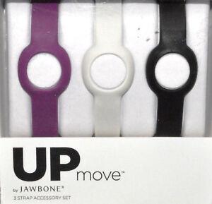 3 New UP Move Strap Accessory by Jawbone, Latex Free, Grape/Fog/Black