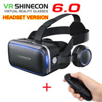 3D Virtual Reality VR BOX Glasses Headset Helmet With Bluetooth Remote Control