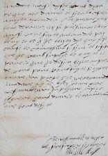 Exceptionnelle lettre d'Anne de Montmorency à la reine Catherine de Médicis