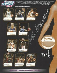 BECKY HAMMON AUTOGRAPHED 2004 WNBA CONFERENCE PLAYOFFS PROGRAM CARD **RARE**