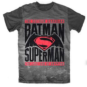 BATMAN Vs SUPERMAN Men's Tee T-Shirt GREY LOGO Man Cave Fathers Day Birthday