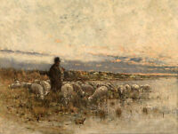 Oil painting male portrait shepherd with sheep by the sunset river Hand painted