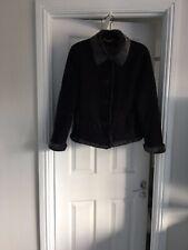 Monsoon Black/ Grey Faux Sheepskin And Fur Jacket Button Front. UK16 EUR44 US12