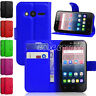 """Luxury Wallet Leather Case Smart Flip Cover Book For Alcatel Phone Pixi 4 4"""" 3g"""