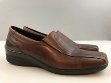ECCO Brown Leather Slip On Comfort Moc Loafers Women's Shoes EU 39 US 8/8.5