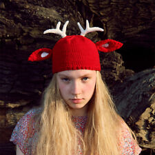 Hand made reindeer wool beanie deer trappers hats antler beanie winter hats