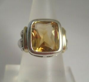 STERLING SILVER & 14K YELLOW GOLD YELLOW CITRINE RING Size 5.5