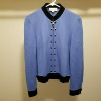 St John Collection Santana Knit Cardigan Sweater Jacket Zip Front Size 8 Womens