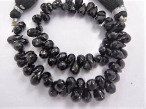 """A++ SPINEL Black 9-7mm long Micro FACETED Drops >80 Beads 9"""" long Strand"""