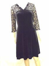 NEW M&S Ladies Long Sleeve Black Lace Short Dress, Beautiful Velvet Design, 12