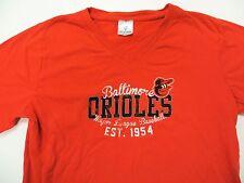 Baltimore Orioles T-Shirt MLB Womens Large L Orange V-Neck Soft as a Grape