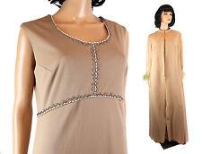 Vintage 70s Dress Set Sz L Brown Sleeveless Beaded Dress Chiffon Jacket Feathers