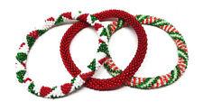 Crochet Glass Seed Bead Nepal Boho Bracelet - Christmas Theme Red Green White