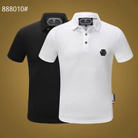 PHILIPP PLEIN Black/White Skull Beading Men Casual T-shirt P888010# Size M-3XL