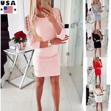 Women Cold Shoulder Lace Beaded Short Mini Dress Ladies Slim Party Bodycon Dress
