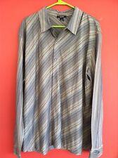 Alfani 2xl Dress Shirt Grey with blue and black