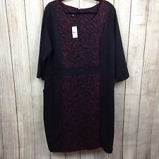 Simply Emma 3X Plus Women's Dress 3/4 Sleeve Zebra Print Purple Black Work