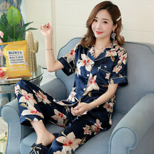 Ladies Flower Printed Silky Satin Pyjamas Set Short Sleeve Nightwear Silk PJ'S