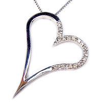 Collar con corazón colgante de oro blanco 18 ct gargantilla diamante mujer