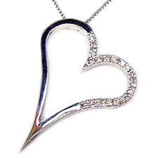 Collana con cuore pendente in oro bianco 18 kt  girocollo con diamanti da donna