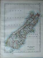 1899 Victoriano Mapa ~Nueva Zelanda Sur Island Iglesia Cristiana Canterbury