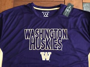NWT Men's CHAMPION NCAA WASHINGTON HUSKIES L/S ATHLETIC SHIRT 2XL