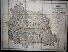 1845 GUILLAUME Carte du Puy de Dôme Topographique Géométrique + Carte Routière
