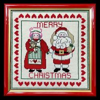 Vintage Santa Claus Mrs Needlepoint Cross Stitch Framed Art Merry Christmas