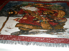 "Vintage Mary Parker Christmas Throw 46 1/2"" x 53"" St Nicholas Burgundy"