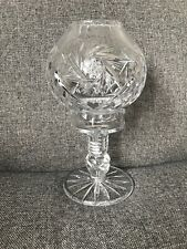 Vintage Crystal Hurricane Glass With Base & Candle Holder Attachment