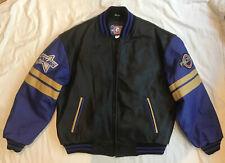 Polaris Men's XL Leather Jacket Black Blue Coat Bomber Vintage EUC